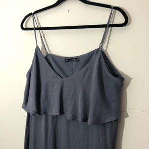 Abercrombie & Fitch silky ruffle slit dress blue
